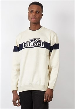 Vintage 90's Diesel white/black logo knit jumper