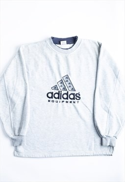 '90s Adidas Equipment Grey Embroidered Sweatshirt - B1893