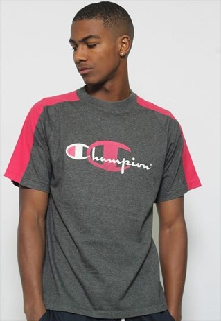 VINTAGE CHAMPION BIG PRINT LOGO T-SHIRT GREY PINK