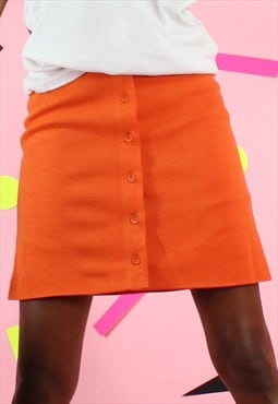 Vintage 90s Skirt Orange Mini High Waisted Button up Y2K