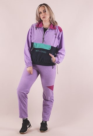 VINTAGE 90S PURPLE VELOUR FULL TRACKSUIT /A11029