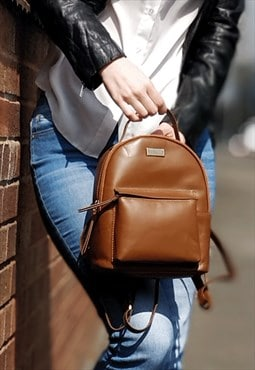 Genuine Leather Mini Backpack for Women - Tan Rucksack Bag