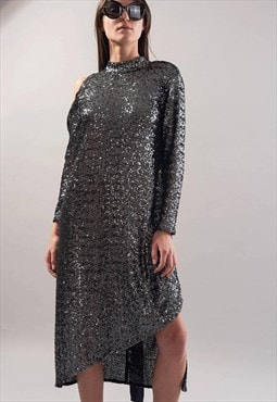 Party Dress Shiny Evening Dress Sequin Midi dress F1741