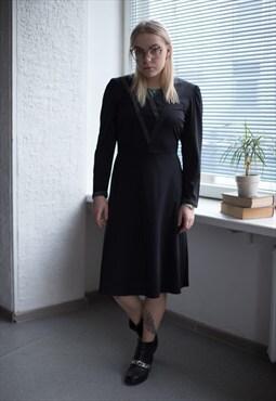 Vintage 80's Midi Black Long Sleeves Dress