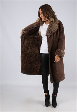 Sheepskin Suede Leather Shearling Coat UK 12 Medium (LJ3D)