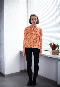 Vintage 70's Orange Flower Print Shirt