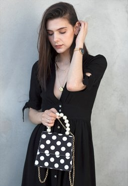 Polka Dot Chain Bag with Pearls - Black