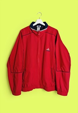 Vintage 90's ADIDAS 3 Stripes Logo Oversized Jacket Red