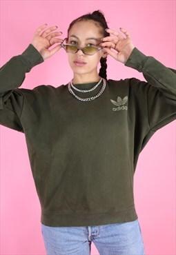 Vintage 90s Adidas Jumper Sweater Green