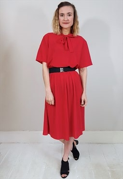 Vintage 80's Red Tie Neck Pleated Midi Dress
