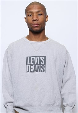 Vintage Levis Spell Out Logo Sweatshirt Grey