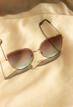 Blue and Brown Butterfly Wire Frame Cat Eye Sunglasses
