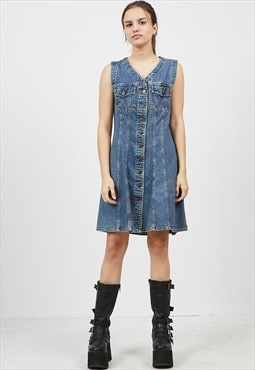 Vintage Blue WRANGLER V-Neck Sleeveless Mini Denim Dress