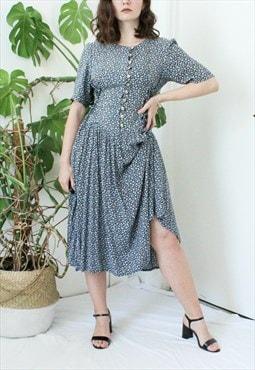 Eighties vintage drop waist navy ditsy floral midi dress