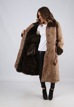 Sheepskin Suede Leather Shearling Coat Long UK 12 (LJ4K)