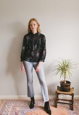 Vintage Floral Blouse with Pleat Details
