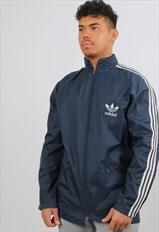 Adidas XL Blue Lightweight Windbreaker Festival Jacket
