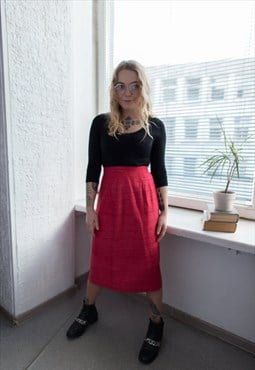 Vintage 80's Red Midi High Waisted Textured Skirt