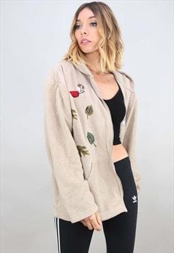 Vintage Oversized Zip Up Embroidered Autumn Fleece Hoodie