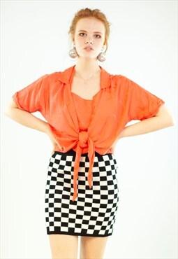 Vintage 80's Crop Top Peach Pink Tie Front Pineapple Palm