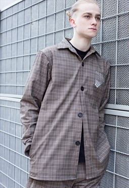 Demos brown badminton racket printed long jacket shirt
