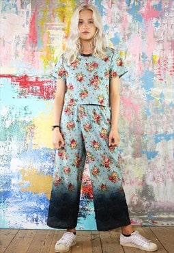 Dip Dye Flower Crop Pants & Box Top Co-ordinates