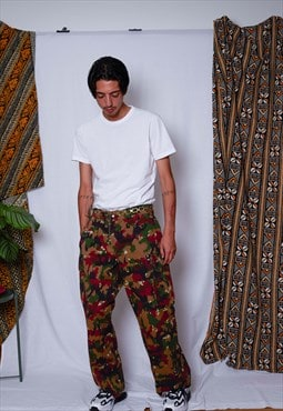 Vintage Unisex Military Army Camo Cargo Baggy Pants Trousers