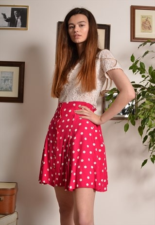 VINTAGE 80S POLKA DOT PLEATED BUTTON MINI SKIRT IN PINK
