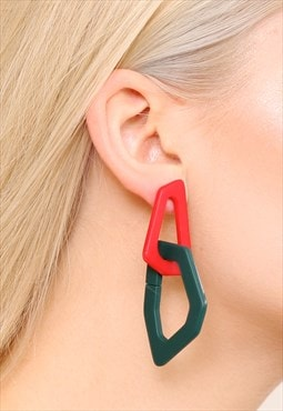 Geometric Red Green Acrylic Statement Earrings