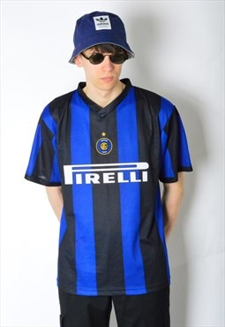 Vintage 90s Striped Inter Milan Football Sports Shirt