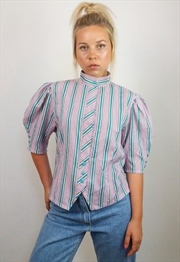 Vintage 90's Puff Sleeve Striped Button-up Shirt / Blouse