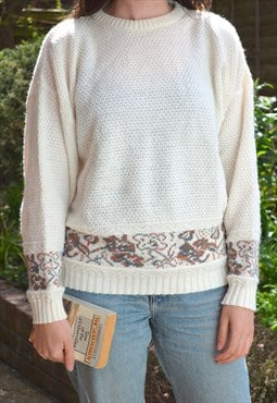 80s Vintage Cream Panel Pattern Cosy Knit Jumper