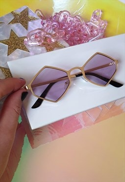 Gold Hexagon Sunglasses with Purple Tinted Lenses