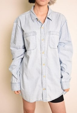 90's retro minimalist stonewash denim oversized shirt top