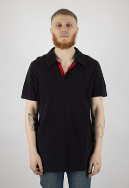 Prada Sport Linea Rossa Open Collar Polo Shirt in Navy