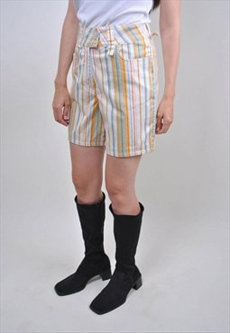80s vintage multicolor striped holiday shorts