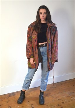 90s Vintage C&A Red Printed Oversized Jacket