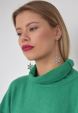 Christmas Long Tassel Drop Snowflake Earrings