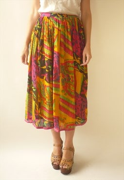 PHOOL 1980's Vintage Indian Hippie Cotton Gauze Midi Skirt