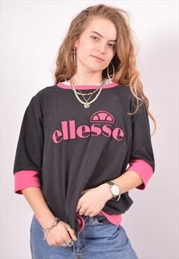Vintage Ellesse T-Shirt Top Black