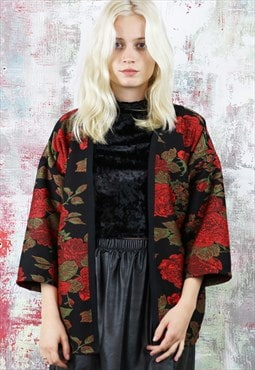 Kimono Style Cardigan in Black with a Rose Pattern
