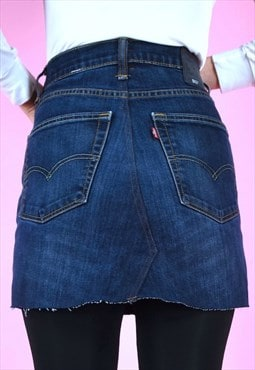 Vintage Rework Skirt 90s Levi's Denim  Mini Dark Blue Wash