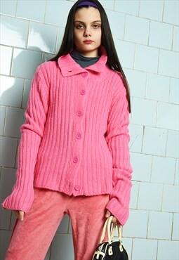 Vintage Y2K retro knit barbie pink jumper cardigan sweater