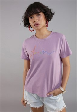 Half sleeves graphic Amour t-shirt in purple