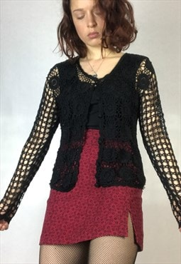 90s crotchet black cardigan