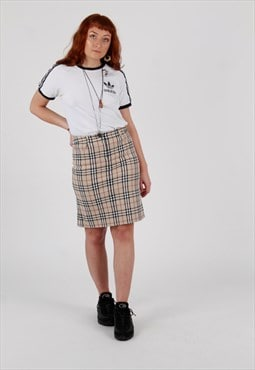 Vintage Burberry London Nova check midi pencil skirt