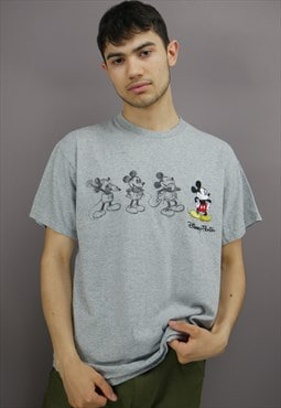 Vintage Disney T-Shirt In Grey With Mickey On Front