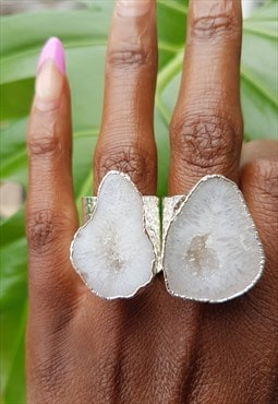 Silver Mega White Crystal Gemstone Adjustable Statement Ring
