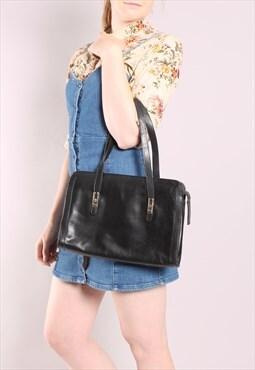 Vintage 70s Black Leather Handbag