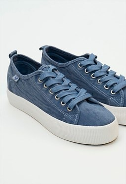 Dusty Blue Washed Canvas Skate Shoes By Walk In Pitas